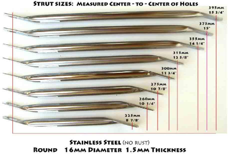 Seat Struts - Stainless Steel - Round - Straight