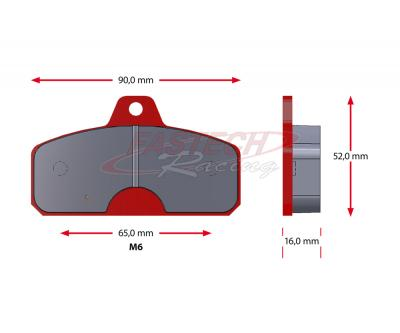 Birel Rear (Old Style - 16mm) Pads - Sinter RED